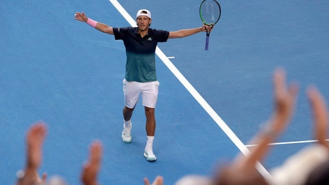 <p>               France's Lucas Pouille celebrates after defeating Canada's Milos Raonic in their quarterfinal match at the Australian Open tennis championships in Melbourne, Australia, Wednesday, Jan. 23, 2019. (AP Photo/Mark Schiefelbein)             </p>