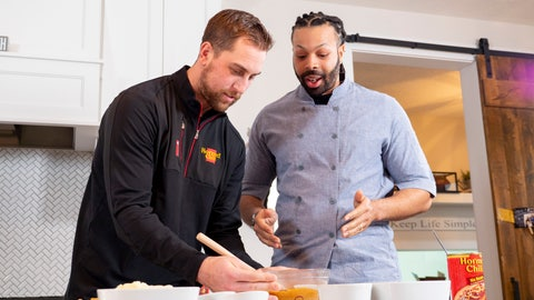 "<p>               In a photo provided by Hormel Foods, Minnesota Vikings wide receiver Adam Thielen, left, and chef Kenneth Temple prepare a Minnesota-inspired chili dip Jan. 15, 2019, in Austin, Minn. ""The beautiful thing about it is chili and football go hand in hand,"" Temple says, noting Hormel was a partner with the NFL as far back at the 1950s. ""At tailgates or with friends at a viewing party or wherever, it is easy to accommodate a larger crowd."" (Hormel Foods via AP)             </p>"