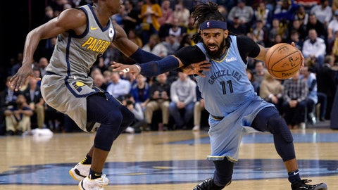 <p>               Memphis Grizzlies guard Mike Conley (11) fends off Indiana Pacers guard Darren Collison during the second half of an NBA basketball game Saturday, Jan. 26, 2019, in Memphis, Tenn. (AP Photo/Brandon Dill)             </p>