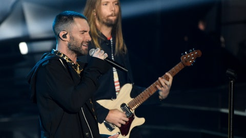 """<p>               FILE - In this Sunday, March 11, 2018 file photo, Adam Levine, left, and James Valentine of Maroon 5 perform during the 2018 iHeartRadio Music Awards at The Forum in Inglewood, Calif. Maroon 5 has canceled its news conference to discuss the band's Super Bowl halftime performance, choosing to not meet with reporters as most acts have done during the week leading up to the NFL's big game. The NFL announced Tuesday, Jan. 29, 2019 that """"the artists will let their show do the talking as they prepare to take the stage this Sunday."""" (Photo by Chris Pizzello/Invision/AP, File)             </p>"""