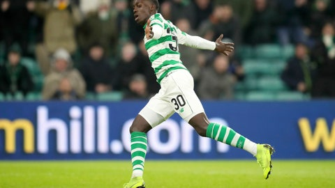 <p>               Celtic's Tim Weah celebrates scoring his side's third goal during the Scottish Cup fourth round match at Celtic Park, Glasgow, Saturday, Jan.19, 2019. Weah, the U.S. striker and son of former AC Milan star George Weah, scored on his debut for Celtic in the Scottish Cup. (Jane Barlow/PA via AP)             </p>