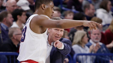 <p>               Gonzaga head coach Mark Few, right, speaks with guard Zach Norvell Jr. during the first half of an NCAA college basketball game against Santa Clara in Spokane, Wash., Saturday, Jan. 5, 2019. (AP Photo/Young Kwak)             </p>