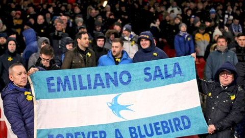 <p>               Cardiff City fans hold a banner in the stands, reading 'Emiliano Sala Forever a Bluebird',  ahead of the match against Arsenal, before the English Premier League soccer match at the Emirates Stadium in London, Tuesday Jan. 29, 2019.  Tonight should have been the debut match for Emiliano Sala, who is believed to have died in a plane crash Monday Jan. 21. (Nick Potts/PA via AP)             </p>