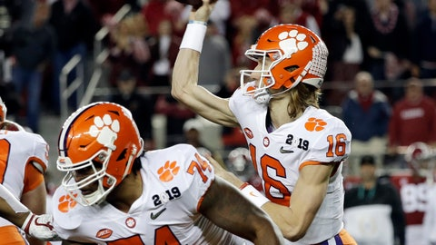 <p>               Clemson's Trevor Lawrence throws during the first half the NCAA college football playoff championship game against Alabama, Monday, Jan. 7, 2019, in Santa Clara, Calif. (AP Photo/David J. Phillip)             </p>