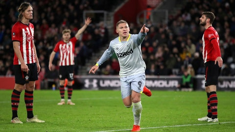 <p>               Derby County's Martyn Waghorn celebrates scoring his side's second goal of the game against Southampton, during their English FA Cup third round replay soccer match at St Mary's Stadium in Southampton, England, Wednesday Jan. 16, 2019. (Nick Potts/PA via AP)             </p>
