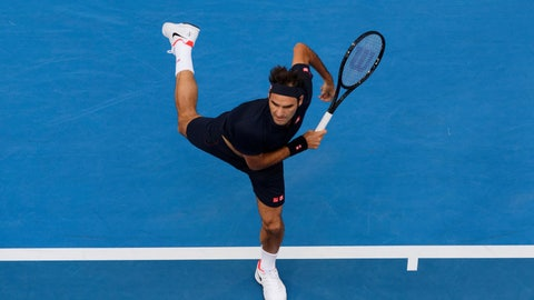 <p>               Switzerland's Roger Federer plays a shot during his match against at Frances Tiafoe of the United States at the Hopman Cup in Perth, Australia, Tuesday, Jan. 1, 2019. (AP Photo/Trevor Collens)             </p>