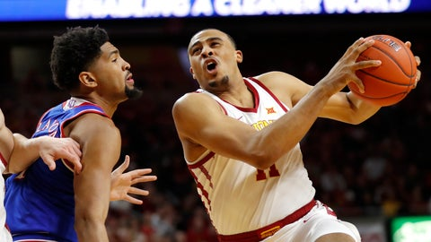 <p>               Iowa State guard Talen Horton-Tucker drives to the basket past Kansas forward Dedric Lawson, left, during the first half of an NCAA college basketball game, Saturday, Jan. 5, 2019, in Ames, Iowa. (AP Photo/Charlie Neibergall)             </p>