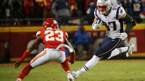 <p>               New England Patriots tight end Rob Gronkowski (87) runs against Kansas City Chiefs cornerback Kendall Fuller (23) during the first half of the AFC Championship NFL football game, Sunday, Jan. 20, 2019, in Kansas City, Mo. (AP Photo/Charlie Riedel)             </p>
