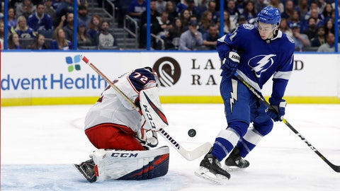 <p>               Columbus Blue Jackets goaltender Sergei Bobrovsky (72) makes a save on a shot by Tampa Bay Lightning center Anthony Cirelli (71) during the second period of an NHL hockey game Tuesday, Jan. 8, 2019, in Tampa, Fla. (AP Photo/Chris O'Meara)             </p>