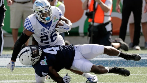 <p>               Penn State safety Nick Scott (4) stops Kentucky running back Benny Snell Jr. (26) after a short gain during the first half of the Citrus Bowl NCAA college football game, Tuesday, Jan. 1, 2019, in Orlando, Fla. (AP Photo/John Raoux)             </p>