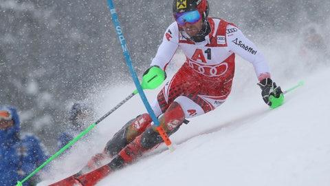 <p>               Austria's Marcel Hirscher competes during an alpine ski, men's World Cup slalom, in Kitzbuehel, Austria, Saturday Jan. 26, 2019. (AP Photo/Alessandro Trovati)             </p>
