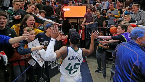 <p>               Fans reach for Utah Jazz guard Donovan Mitchell (45) following the team's NBA basketball game against the Minnesota Timberwolves on Friday, Jan. 25, 2019, in Salt Lake City. (AP Photo/Rick Bowmer)             </p>