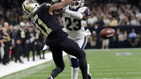 <p>               FILE - In this Jan. 20, 2019, file photo, Los Angeles Rams' Nickell Robey-Coleman breaks up a pass intended for New Orleans Saints' Tommylee Lewis during the second half of the NFL football NFC championship game, in New Orleans.  Jacksonville Jaguars defensive end Calais Campbell watched the NFL's conference championship games on his phone while flying home from South Africa last weekend. Campbell was stunned officials chose not to penalize Robey-Coleman for flattening Saints receiver Tommylee Lewis before the ball arrived. (AP Photo/Gerald Herbert, File)             </p>