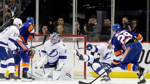 <p>               New York Islanders' Brock Nelson (29) shoots the puck past Tampa Bay Lightning goaltender Andrei Vasilevskiy (88) during the first period of an NHL hockey game Sunday, Jan. 13, 2019, in New York. (AP Photo/Frank Franklin II)             </p>