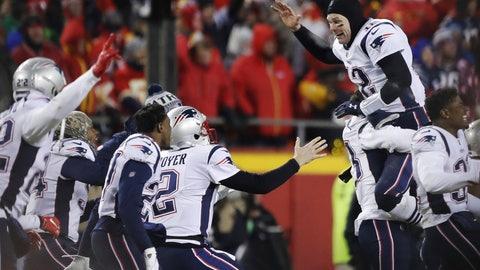 <p>               New England Patriots quarterback Tom Brady (12) celebrates with his teammates after the AFC Championship NFL football game, Sunday, Jan. 20, 2019, in Kansas City, Mo. (AP Photo/Charlie Neibergall)             </p>