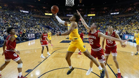 <p>               Michigan guard Jordan Poole (2) drives against Indiana in the first half of an NCAA college basketball game in Ann Arbor, Mich., Sunday, Jan. 6, 2019. (AP Photo/Paul Sancya)             </p>