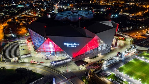<p>               In this Friday, Sep. 21, 2018, photo, Mercedes-Benz Stadium is seen in this aerial photo in Atlanta. The stadium will be the site of Super Bowl LIII on Sunday, Feb. 3, 2019. Atlanta leaders, police and federal officials plan to discuss public safety plans ahead of Super Bowl 53. (AP Photo/Danny Karnik)             </p>