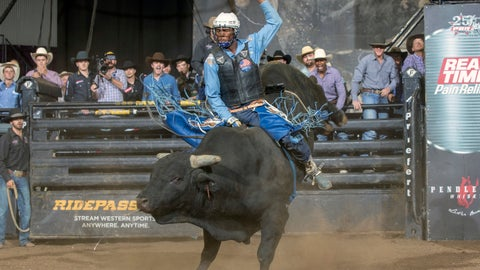 <p>               In this Oct. 27, 2018, photo provided by the Professional Bull Riders, Ezekiel Mitchell rides Last Chance during a bull riding event in Colorado Springs, Colo. Mitchell played football and ran track because he didn't have the background or financial means to learn how to ride a bull. So he did what all teenagers do these days: Watched YouTube. (Andre Silva/PBR via AP)             </p>