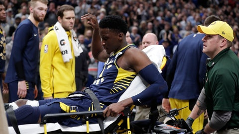 <p>               Indiana Pacers guard Victor Oladipo is taken off the court on a stretcher after he was injured during the first half of the team's NBA basketball game against the Toronto Raptors in Indianapolis, Wednesday, Jan. 23, 2019. (AP Photo/Michael Conroy)             </p>