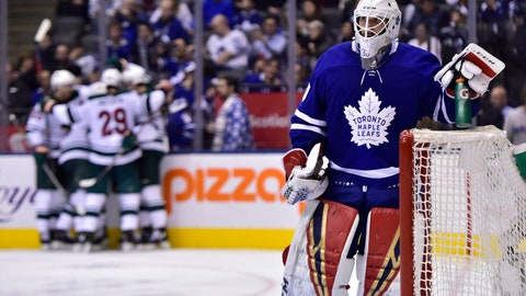 <p>               Toronto Maple Leafs goaltender Michael Hutchinson (30) looks on as Minnesota Wild players celebrate a goal by Zach Parise (11) during the third period of an NHL hockey game, Thursday, Jan. 3, 2019 in Toronto. (Frank Gunn/The Canadian Press via AP)             </p>