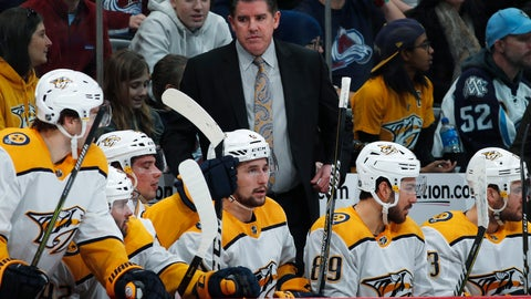 <p>               Nashville Predators head coach Peter Laviolette, back, directs his players in the second period of an NHL hockey game against the Colorado Avalanche Monday, Jan. 21, 2019, in Denver. (AP Photo/David Zalubowski)             </p>