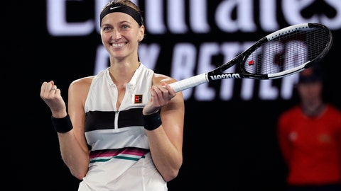 <p>               Petra Kvitova of the Czech Republic celebrates after defeating United States' Danielle Collins in their semifinal at the Australian Open tennis championships in Melbourne, Australia, Thursday, Jan. 24, 2019. (AP Photo/Kin Cheung)             </p>