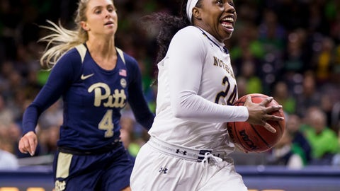 <p>               Notre Dame's Arike Ogunbowale (24) drives in on a fast break in front of Pittsburgh's Cassidy Walsh (4) during the first half of an NCAA college basketball game Thursday, Jan. 3, 2019, in South Bend, Ind. (AP Photo/Robert Franklin)             </p>