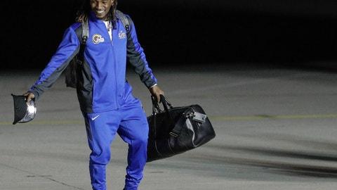 <p>               Los Angeles Rams' Nickell Robey-Coleman arrive sat the Hartsfield-Jackson Atlanta International Airport for the NFL Super Bowl 53 football game Sunday, Jan. 27, 2019, in Atlanta. (AP Photo/David J. Phillip)             </p>