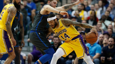<p>               Los Angeles Lakers forward Brandon Ingram (14) drives against Dallas Mavericks forward Luka Doncic (77) of Germany during the the second half of an NBA basketball game in Dallas, Monday, Jan. 7, 2019. (AP Photo/LM Otero)             </p>