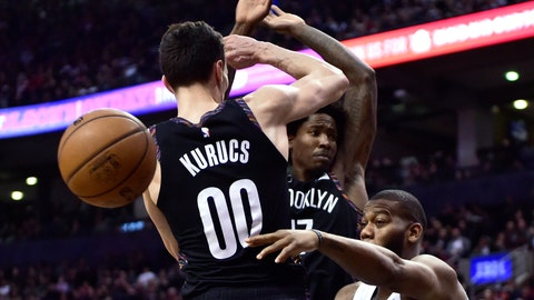 <p>               Toronto Raptors center Greg Monroe (15) makes a pass as Brooklyn Nets forward Rodions Kurucs (00) defends during the second half an NBA basketball game in Toronto on Friday Jan. 11, 2019. (Frank Gunn/The Canadian Press via AP)             </p>