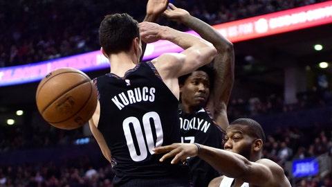 <p>               Toronto Raptors center Greg Monroe (15) makes a pass as Brooklyn Nets forward Rodions Kurucs (00) defends during the second half an NBA basketball game in Toronto on Friday Jan. 11, 2019. (Frank Gunn/The Canadian Press via AP)             </p>