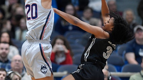 <p>               Connecticut's Olivia Nelson-Ododa blocks a shot attempt by Central Florida's Diamond Battles, right, during the first half of an NCAA college basketball game, Sunday, Jan. 27, 2019, in Hartford, Conn. (AP Photo/Jessica Hill)             </p>