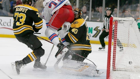 <p>               New York Rangers center Filip Chytil (72) collides with Boston Bruins goaltender Tuukka Rask (40) as he scores a goal, next to Charlie McAvoy (73) during the first period of an NHL hockey game Saturday, Jan. 19, 2019, in Boston. Rask left the game with an injury after the goal. (AP Photo/Mary Schwalm)             </p>