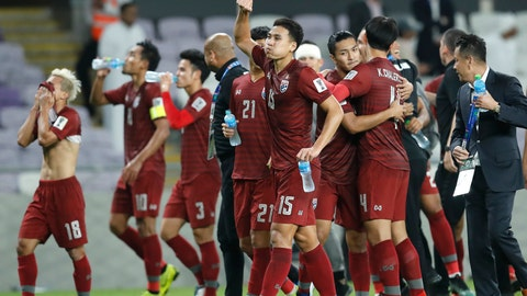 <p>               Thailand players react at the end of the AFC Asian Cup group A soccer match between United Arab Emirates and Thailand at Al Maktoum Stadium in Al Ain, United Arab Emirates, Monday, Jan. 14, 2019. (AP Photo/Hassan Ammar)             </p>