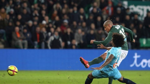 <p>               Saint-Etienne's Wahbi Khazri kicks the ball to score his second goal against Marseille during their French League One soccer match in Saint-Etienne, central France, Wednesday, Jan. 16, 2019. (AP Photo/Laurent Cipriani)             </p>