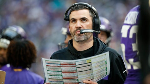 <p>               FILE - In this Sunday, Dec. 16, 2018 file photo, Minnesota Vikings interim offensive coordinator Kevin Stefanski watches from the sideline during the first half of an NFL football game against the Miami Dolphins in Minneapolis. The Minnesota Vikings have appointed Kevin Stefanski as offensive coordinator, after his interim stint over the last three games of the season. The 36-year-old Stefanski was promoted on Dec. 11 to replace John DeFilippo, who was fired in his first season on the job amid persistent struggles by the Vikings in moving the ball. Stefanski was a candidate for the head coach vacancy with the Cleveland Browns, who instead picked their own interim offensive coordinator Freddie Kitchens.  (AP Photo/Bruce Kluckhohn, File)             </p>