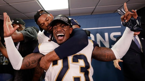 <p>               Los Angeles Rams defensive back Nickell Robey-Coleman (23) celebrates in the locker room after overtime of the NFL football NFC championship game, against the New Orleans Saints, Sunday, Jan. 20, 2019, in New Orleans. The Rams won 26-23. (AP Photo/David J. Phillip)             </p>