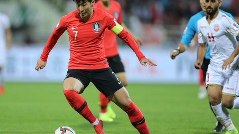 <p>               South Korea's forward Son Heung-Min. in action during the AFC Asian Cup round of 16 soccer match between South Korea and Bahrain at the Rashid Stadium in Dubai, United Arab Emirates, Tuesday, Jan. 22, 2019. (AP Photo/Kamran Jebreili)             </p>