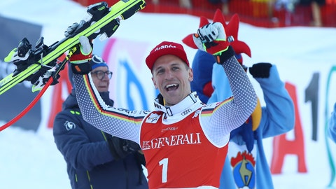 <p>               Germany's Josef Ferstl celebrates after winning an alpine ski, men's World Cup super-G, in Kitzbuehel, Austria, Sunday, Jan. 27, 2019. (AP Photo/Alessandro Trovati)             </p>