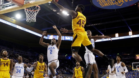 <p>               Arizona State forward Zylan Cheatham (45) drives to the basket during the first half of the team's NCAA college basketball game against UCLA on Thursday, Jan. 24, 2019, in Los Angeles. (AP Photo/Marcio Jose Sanchez)             </p>