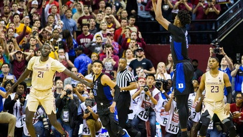 <p>               Duke forward Cam Reddish takes the game-winning shot against Florida State with less than a second left in an NCAA college basketball game in Tallahassee, Fla., Saturday, Jan. 12, 2019. Duke defeated Florida State 80-78. (AP Photo/Mark Wallheiser)             </p>