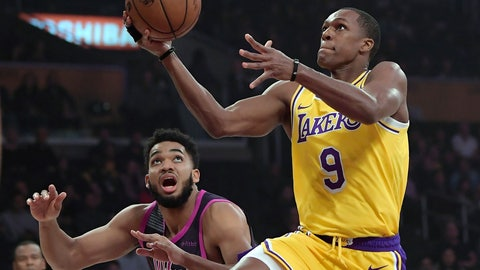 <p>               Los Angeles Lakers guard Rajon Rondo, right, shoots as Minnesota Timberwolves center Karl-Anthony Towns defends during the first half of an NBA basketball game Thursday, Jan. 24, 2019, in Los Angeles. (AP Photo/Mark J. Terrill)             </p>