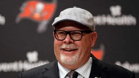 <p>               New Tampa Bay Buccaneers head coach Bruce Arians smiles as he is introduced during a news conference Thursday, Jan. 10, 2019, in Tampa, Fla. (AP Photo/Chris O'Meara)             </p>