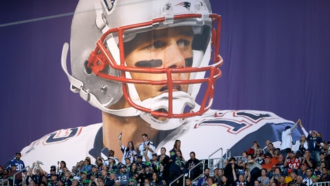 <p>               FILE - In this Feb. 1, 2015, file photo, fans cheer under a banner of New England Patriots quarterback Tom Brady (12) before the NFL Super Bowl XLIX football game between the Seattle Seahawks and the New England Patriots, in Glendale, Ariz. (AP Photo/Matt Slocum, File)             </p>
