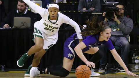 <p>               Baylor guard Juicy Landrum, left, reaches for a loose ball with Kansas State guard Rachel Ranke, right, in the first half of an NCAA college basketball game, Wednesday, Jan. 9, 2019, in Waco, Texas. (AP Photo/Rod Aydelotte)             </p>