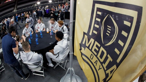 <p>               Alabama players participate during media day for the NCAA college football playoff championship game Saturday, Jan. 5, 2019, in Santa Clara, Calif. (AP Photo/Chris Carlson)             </p>