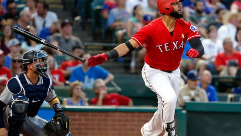 <p>               FILE - In this Sept. 1, 2018, Texas Rangers' Nomar Mazara (30) watches the flight of his solo home run against the Minnesota Twins during the second inning of a baseball game in Arlington, Texas. The Rangers agreed to one-year contracts with Mazara and Delino DeShields, avoiding arbitration with both outfielders Friday, Jan. 11, 2019. (AP Photo/Michael Ainsworth, File)             </p>