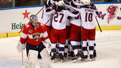 <p>               Columbus Blue Jackets players mob defenseman Seth Jones after Jones score a goal against Florida Panthers goaltender James Reimer (34) during an overtime period of an NHL hockey game against the Florida Panthers, Saturday, Jan. 5, 2019 in Sunrise, Fla. The Blue Jackets defeated the Panthers 4-3 in overtime. (AP Photo/Wilfredo Lee)             </p>