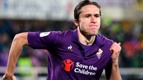 <p>               Fiorentina's Federico Chiesa celebrates after scoring  during the Italian Cup quarterfinal soccer match between Fiorentina and Roma, at the Artemio Franchi stadium in Florence, Italy, Wednesday, Jan. 30, 2019. (Claudio Giovannini/ANSA via AP)             </p>