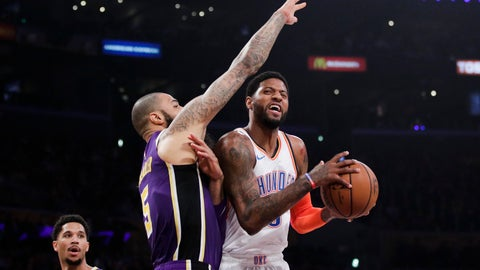 <p>               Oklahoma City Thunder's Paul George, right, is defended by Los Angeles Lakers' Tyson Chandler during the first half of an NBA basketball game, Wednesday, Jan. 2, 2019, in Los Angeles. (AP Photo/Jae C. Hong)             </p>